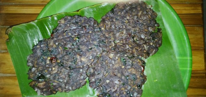 Finger millet adai, Ragi adai with drumstick leaves and grated carrots