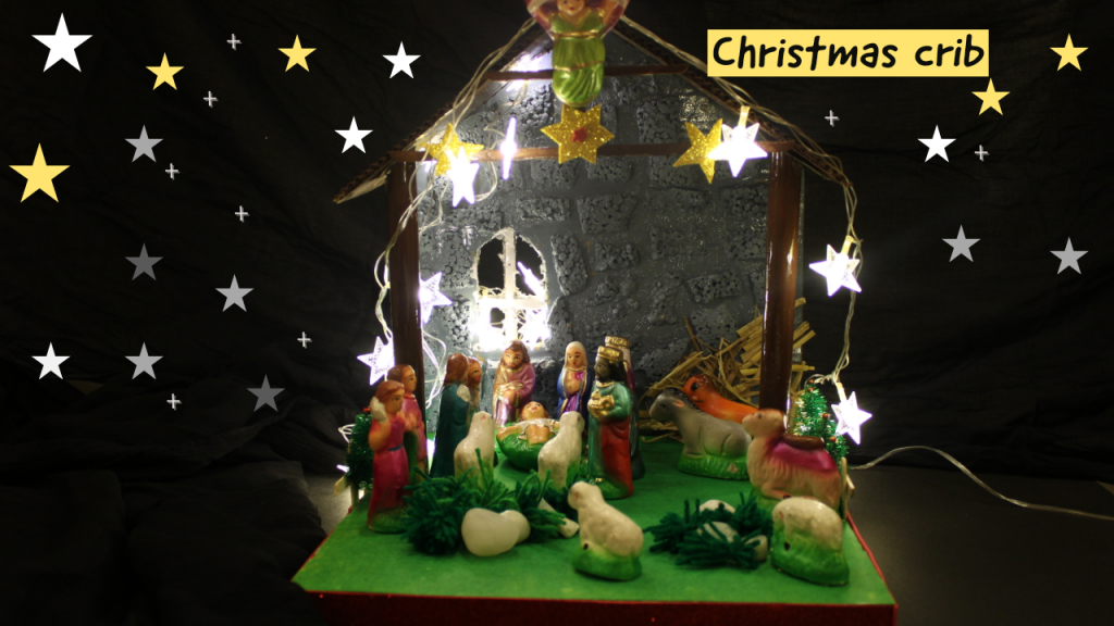 Christmas crib manger at night